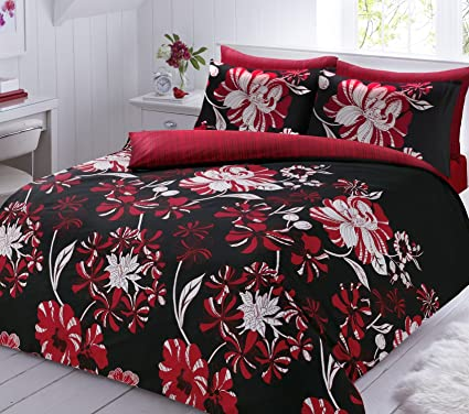 Lineal Floral Rojo De Funda De Edredon Juego De Cama Individual Y