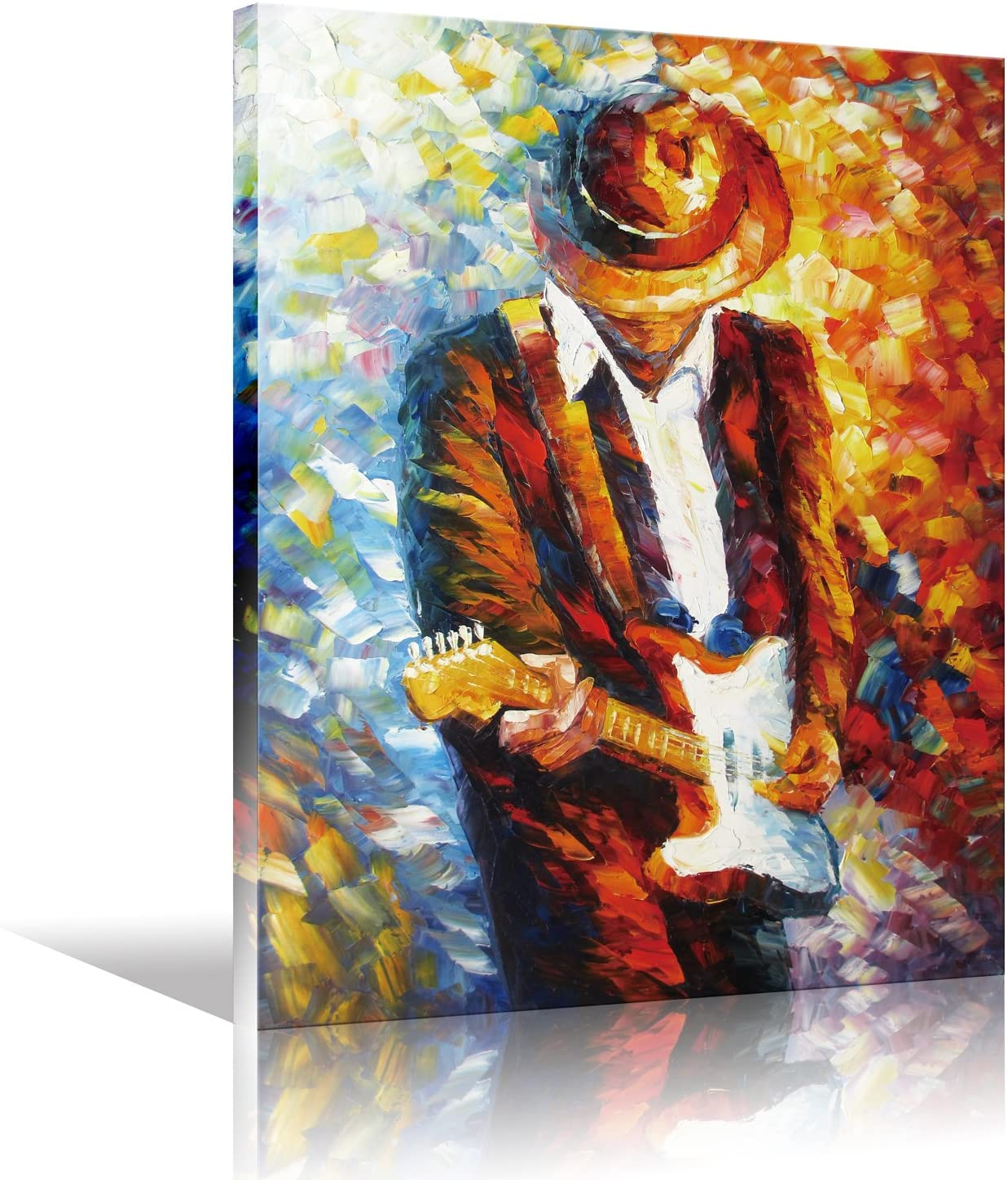 Lienzo pared Art Rock Pop música guitarrista guitarra jugador hombre expresión eléctrica arte para la decoración de la pared del salón, la lona imprime estirado y enmarcado listo para colgar
