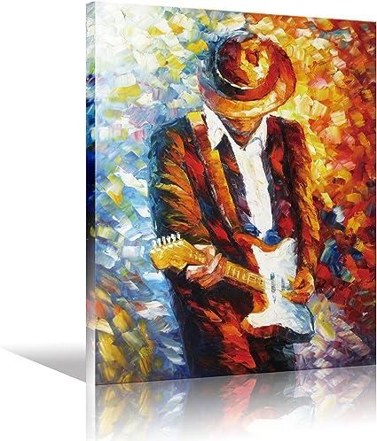 Lienzo Rock guitarrista, lona imprime estirado y enmarcado para colgar