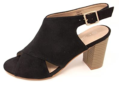c153748894ef Lunar Ladies Verity JLH60 Cross Over Front Peep Toe Sling Back Medium Block  Heeled Sandal Shoe