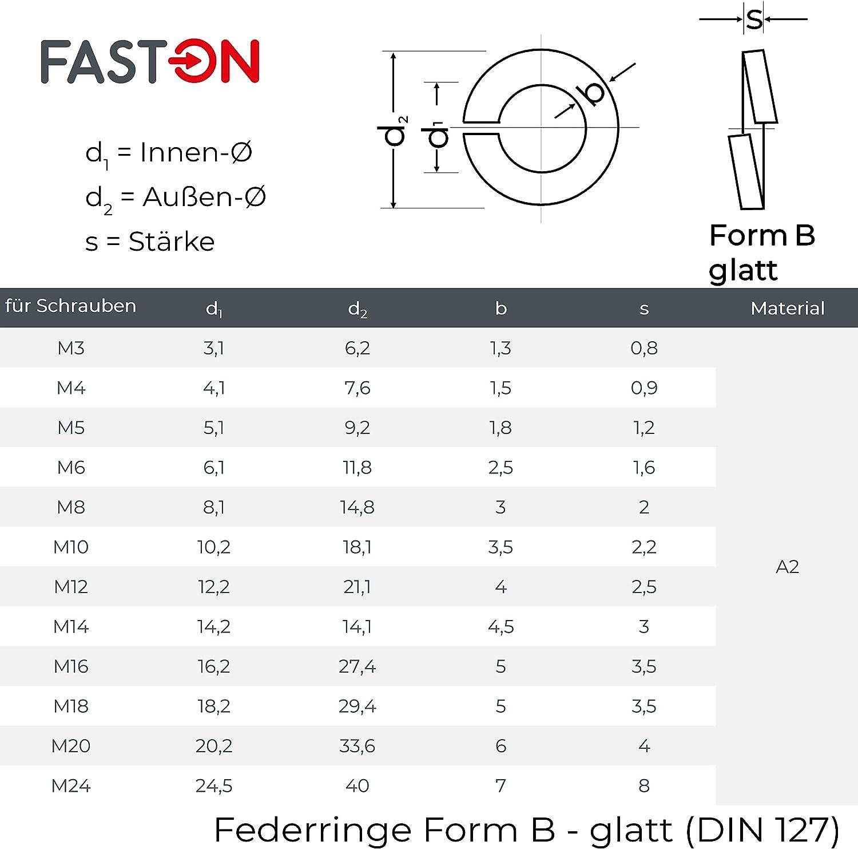 M20 100 St/ück B 20 Federringe Edelstahl Federscheiben DIN 127 Form B A4 V4A