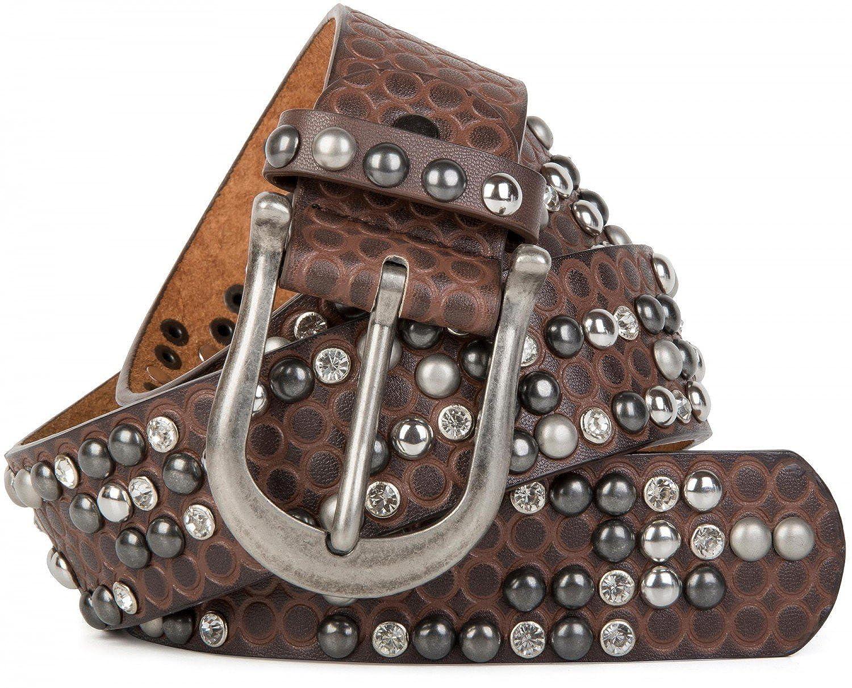 strass e borchie a coni in design vintage styleBREAKER Cintura con borchie e ornamento con cerchi in rilievo accorciabile donna 03010058