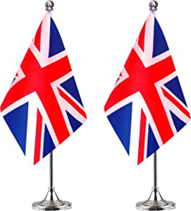 WEITBF United Kingdom UK Desk Flag Small Mini British Office Table Flag with Stand Base,British Themed Party Decorations Celebration Event,2 Pack