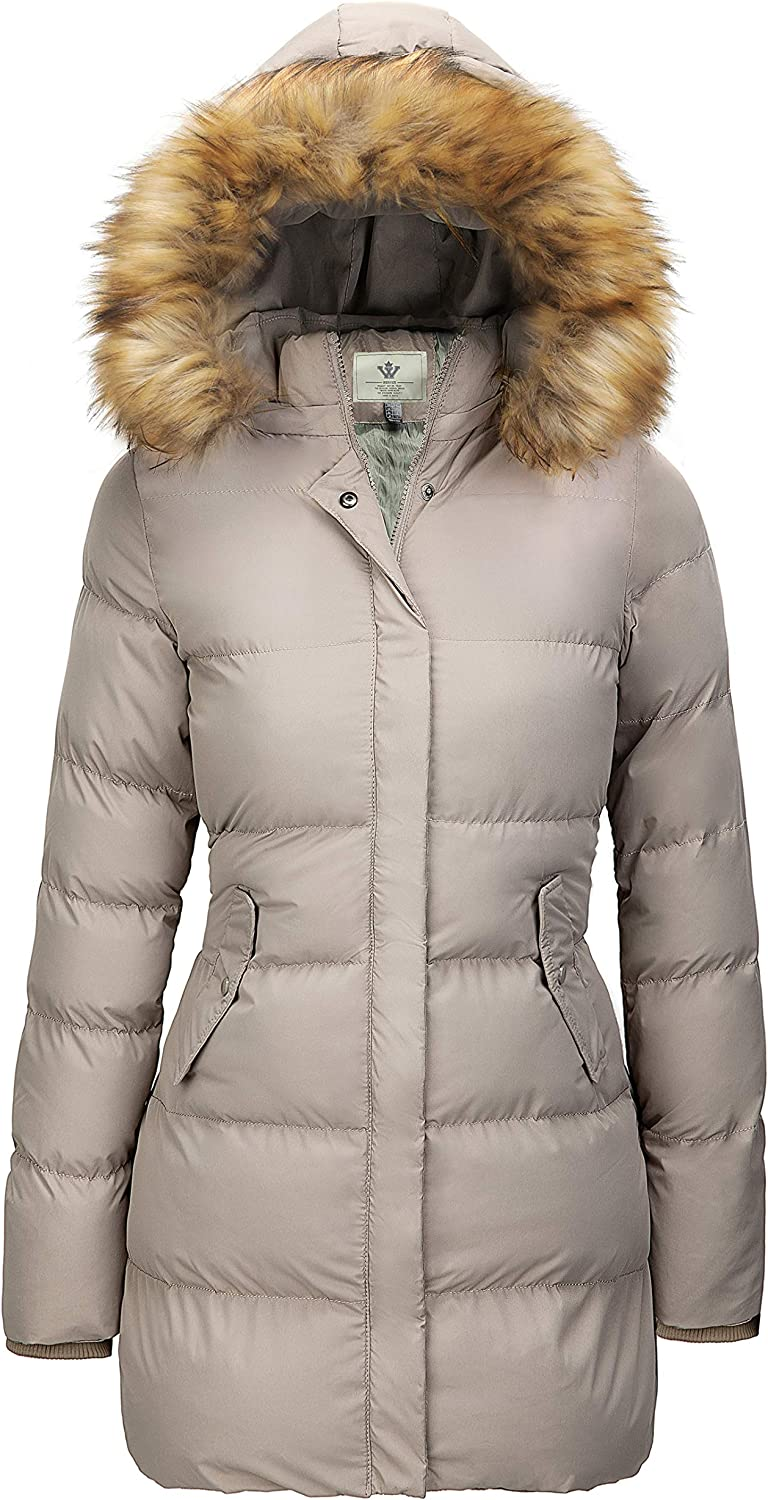 WenVen Womens Winter Thicken Puffer Coat with Fur Trim Removable Hood