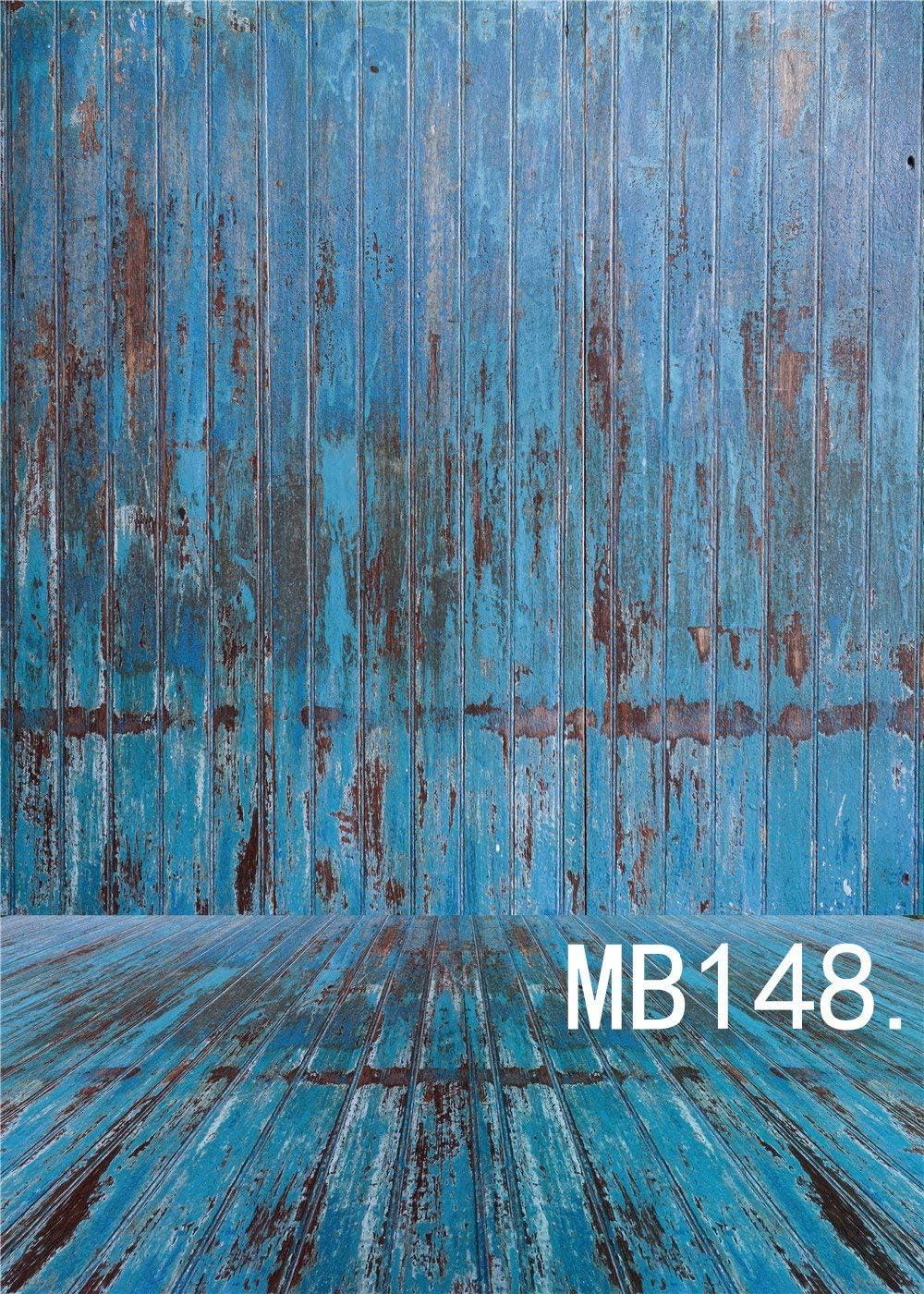 LB 5x7ft Vinyl Photography Backdrop Retro Deciduous Faded Wooden Floor Wall Backdrop Blue Customized Photo Background Studio Prop MB148