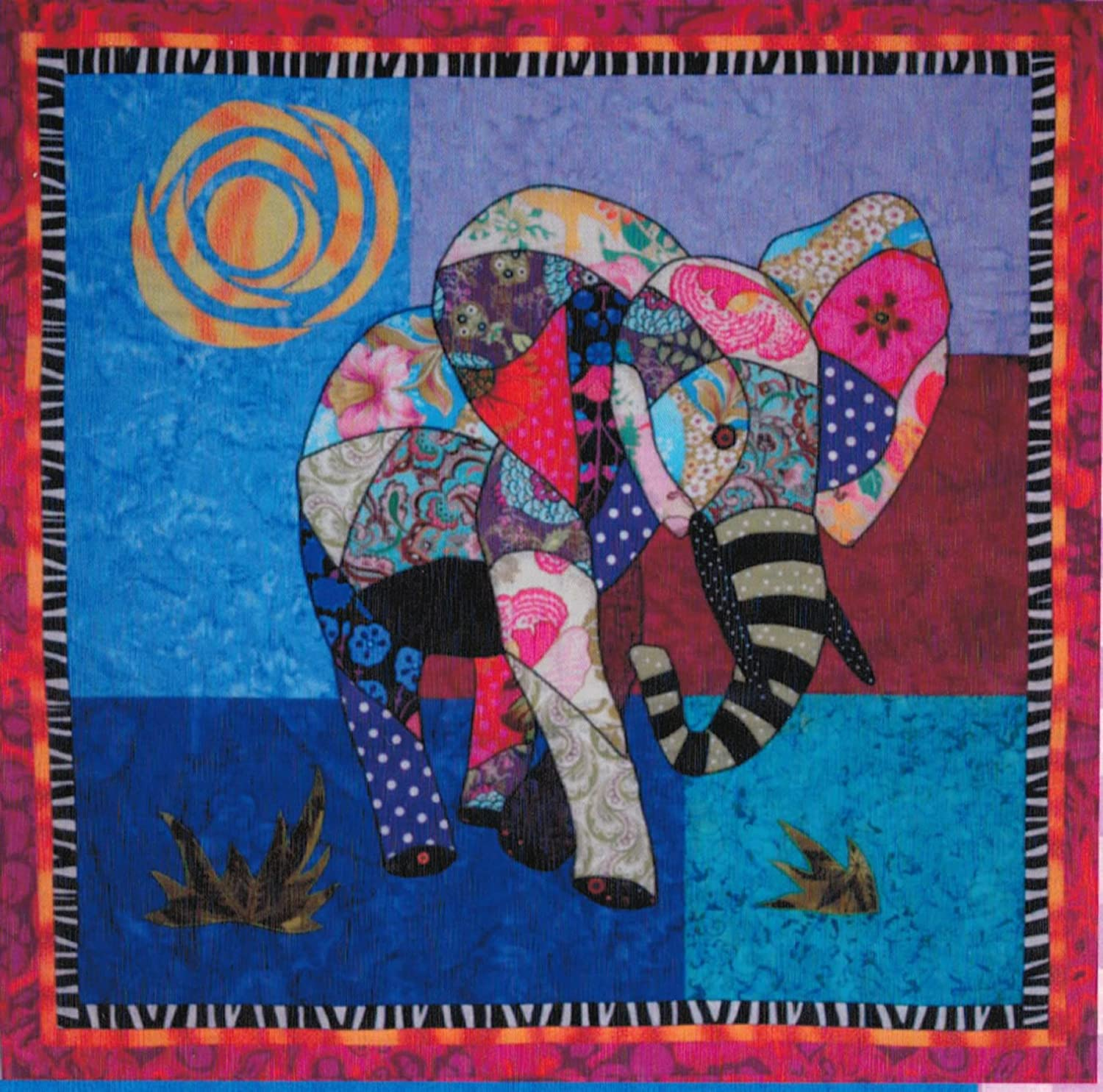 Ellie Elephant Machine Applique Quilt 35 inch by 34 inch Wall Hanging Pattern bj designs and patterns BJEL-06
