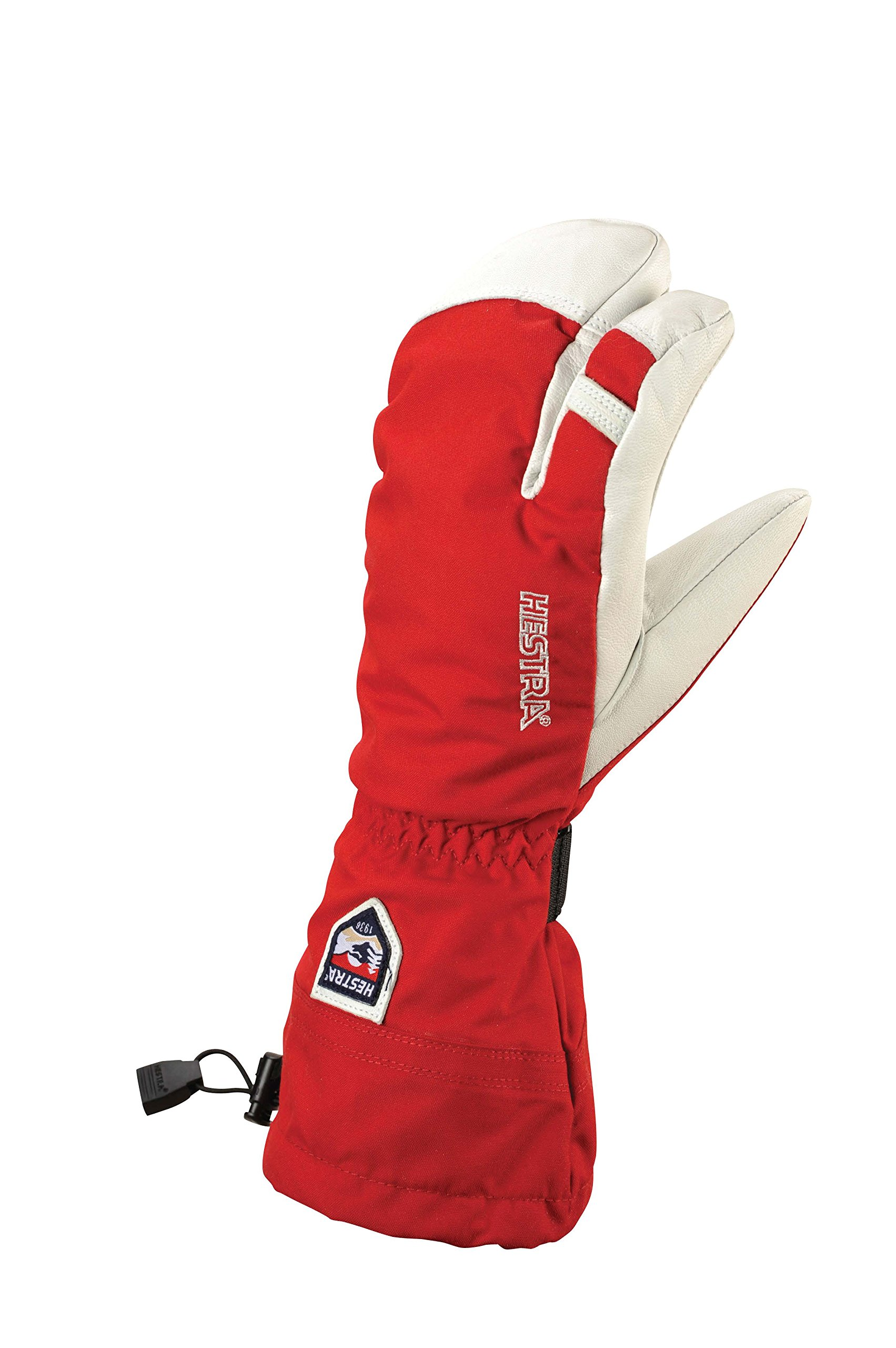 Hestra Army Leather Heli Ski 3-Finger Gloves with Gauntlet,Red,9