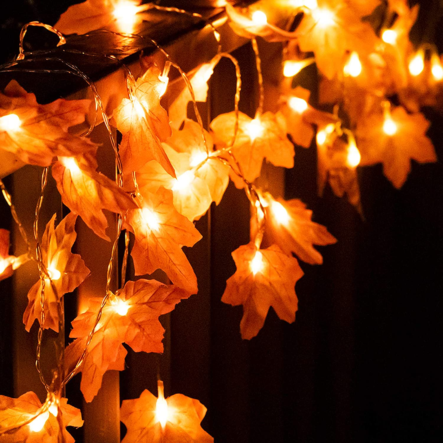 MEULOT Thanksgiving Decorations Lights, Fall Decor Maple Leaf Lights, 20 LED Halloween String Lights, Battery Operated Fall Garland Fairy Lights for Home Wedding Indoor Outdoor Holiday (D)