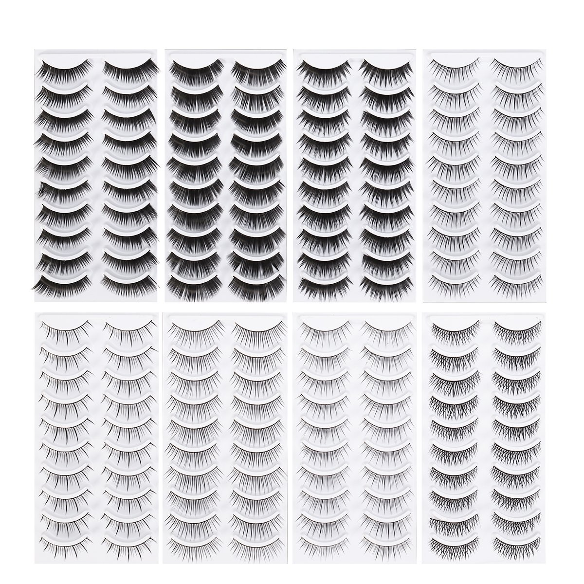 Frcolor 80 Pairs Natural Fake Eyelashes 10-Style Thick Long Eye Lashes for Women Lady Teenager Girls