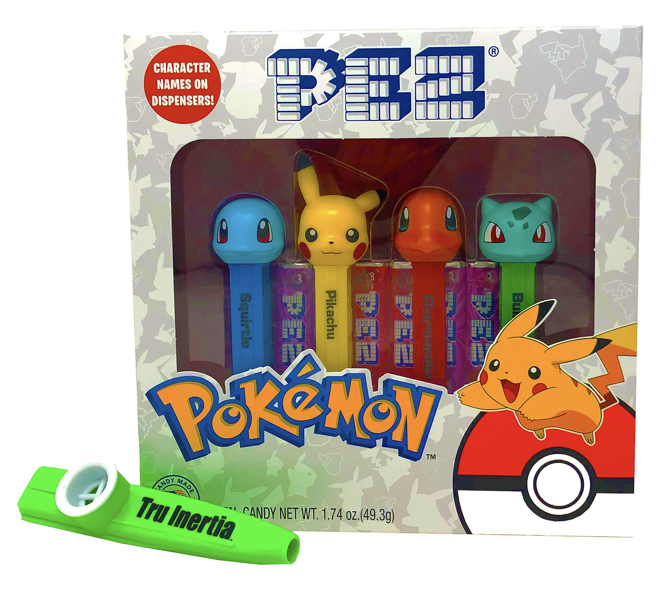 Pez Pokemon Candy and Dispensers Gift Set with Tru Inertia Kazoo - Pikachu, Charmander, Bulbasaur, Squirtle by Tru Inertia