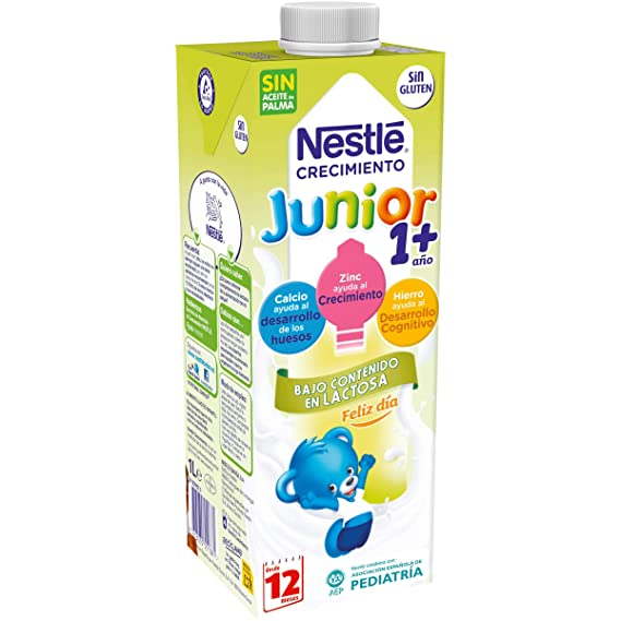 Nestlé Junior 1+ Leche para niños a partir de 1 año - leche baja en