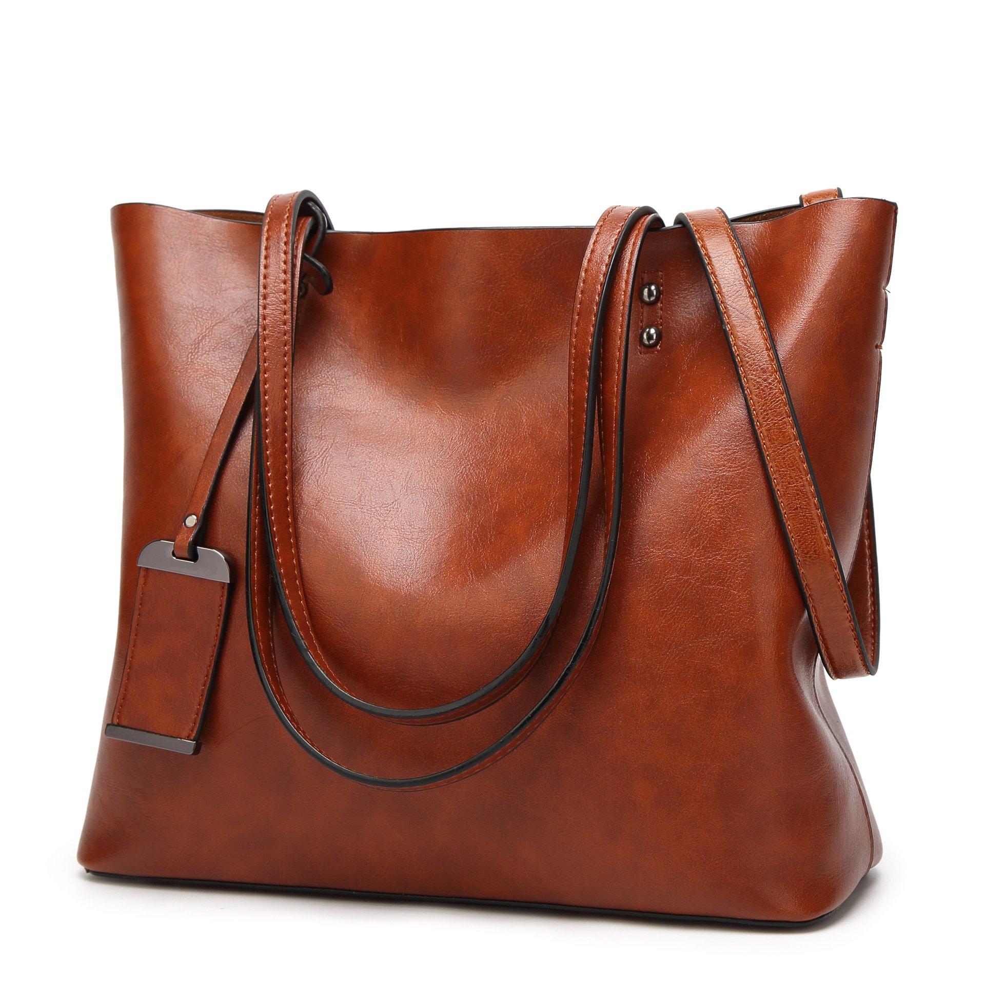 CIR Women's Vintage Fine Fibre Genuine Leather Bag Tote Shoulder Bag Handbag Model Zoe Brown