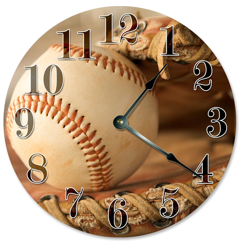Large 10.5 Wall Clock Decorative Round Wall Clock Home Decor Novelty Clock BASEBALL GLOVE