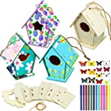 12 Wooden Birdhouse DIY Kits Include 12 Pieces 4 Shapes Wooden Unfinished Paintable Bird House with 12 Colour…