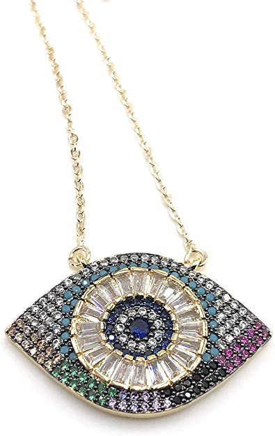 LESLIE BOULES Evil Eye Pendant Necklace Protection Jewelry for Women