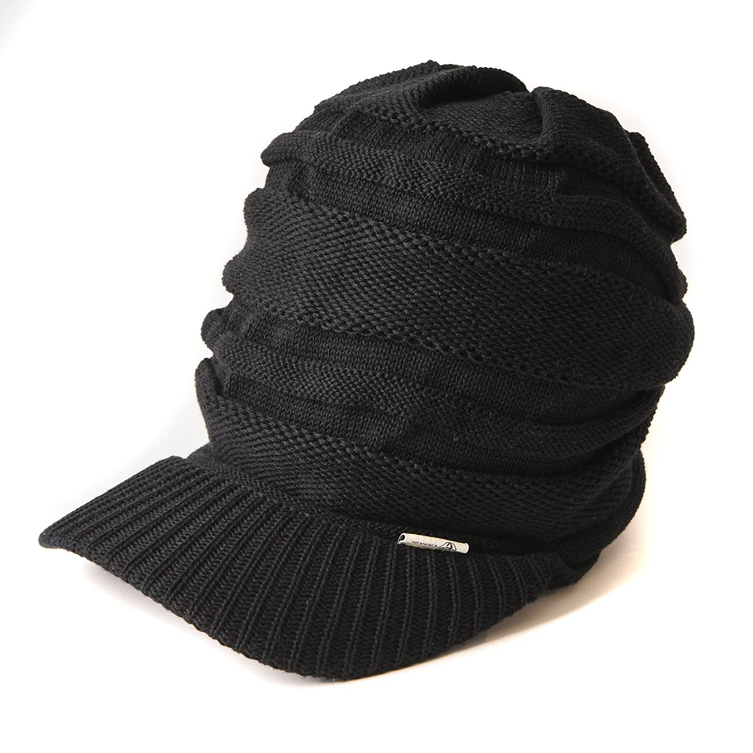 Amazon.com  Casualbox mens Peak Cap Beanie Knit Hat Summer Warm Slouch  Baggy Unisex Black  Clothing 1898fd94a