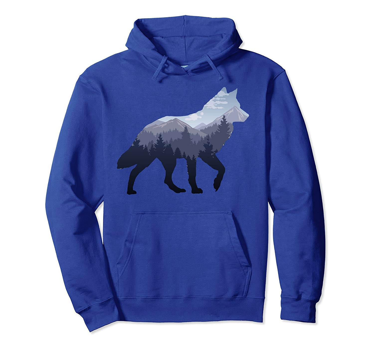 5d0e6e4dc9f Lone Wolf Survives The Mountain Silhouette Art Hoodie Shirt-Colonhue