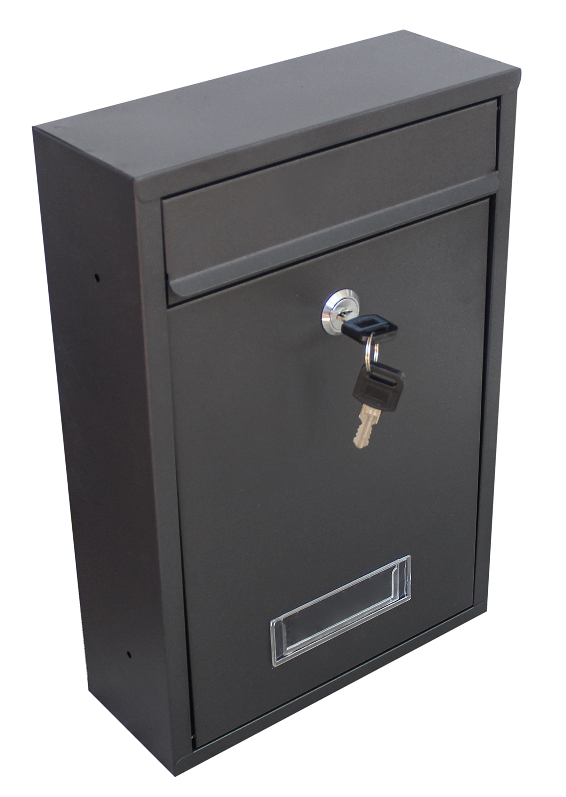 Locking Wall Mounted Mailbox - Security Mail Box Locking with Key - Black Aluminum - Residential/Commercial Letter Box