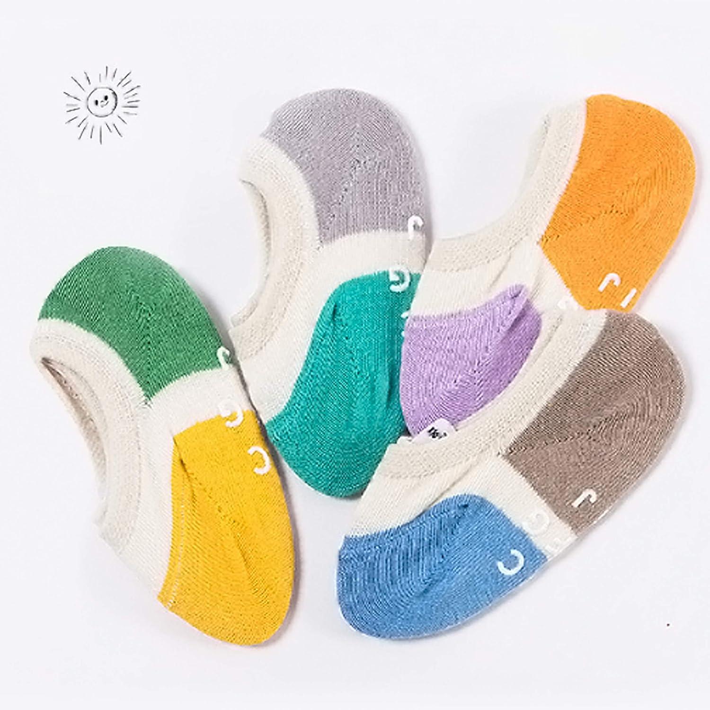 ANIMQUE Bambini bambino calzini invisibili 2-10 anni ragazzi ragazze antiscivolo calzini di linea cotone calze alla caviglia traspirante confortevole 4 paia