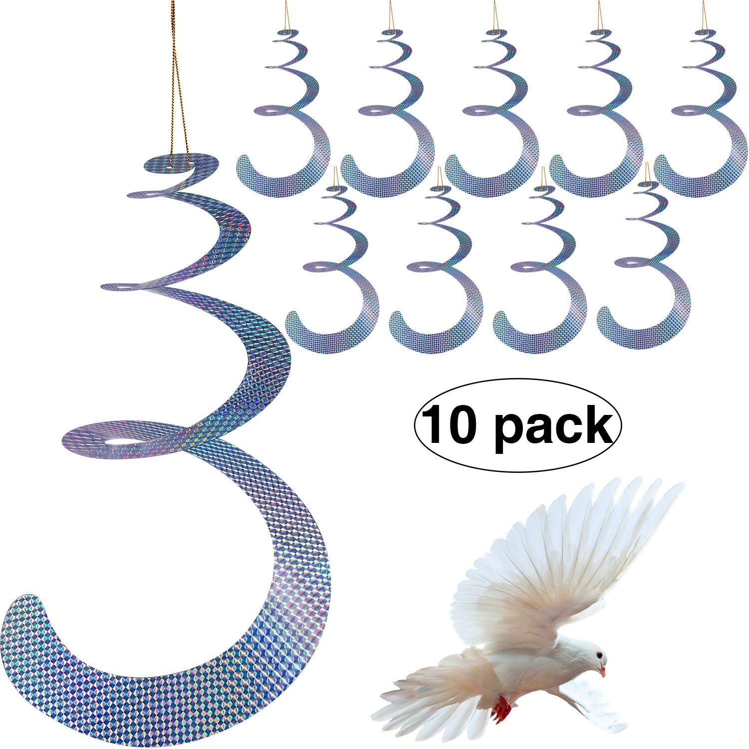 Maitys 10 Pack Bird Repellent Control Scare Device, Efficient Spiral Bird Deterrent Device Reflect Light to Scare Birds Away by Maitys
