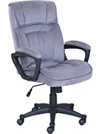 Serta Executive Office Chair In Velvet Gray Microfiber, Black Base