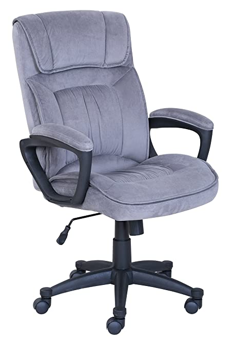 Serta Executive Office Chair in Velvet Gray Microfiber Black Base  sc 1 st  Amazon.com : black microfiber chair - Cheerinfomania.Com