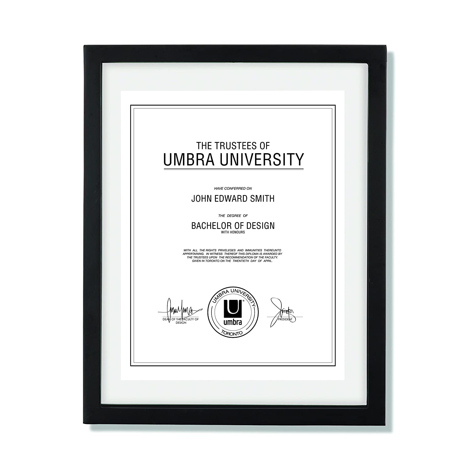Umbra Document Frame 11x14 inch – Modern Picture Frame Designed to Display a Floating 8.5x11 Document, Diploma, Certificate, Photo or Artwork (Black) 316280-040