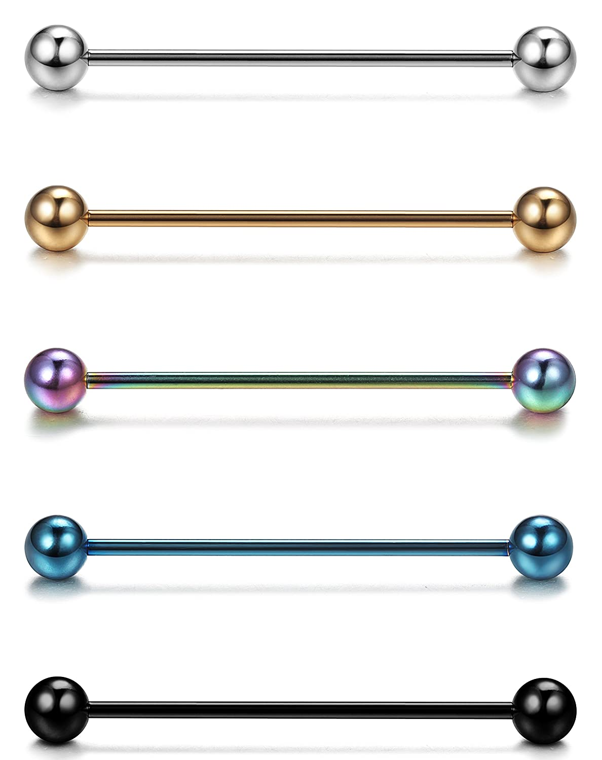 FUNRUN JEWELRY 5-6PCS 14G Stainless Steel Industrial Barbell Piercing Jewelry Piercing Earrings Set CCP003-6