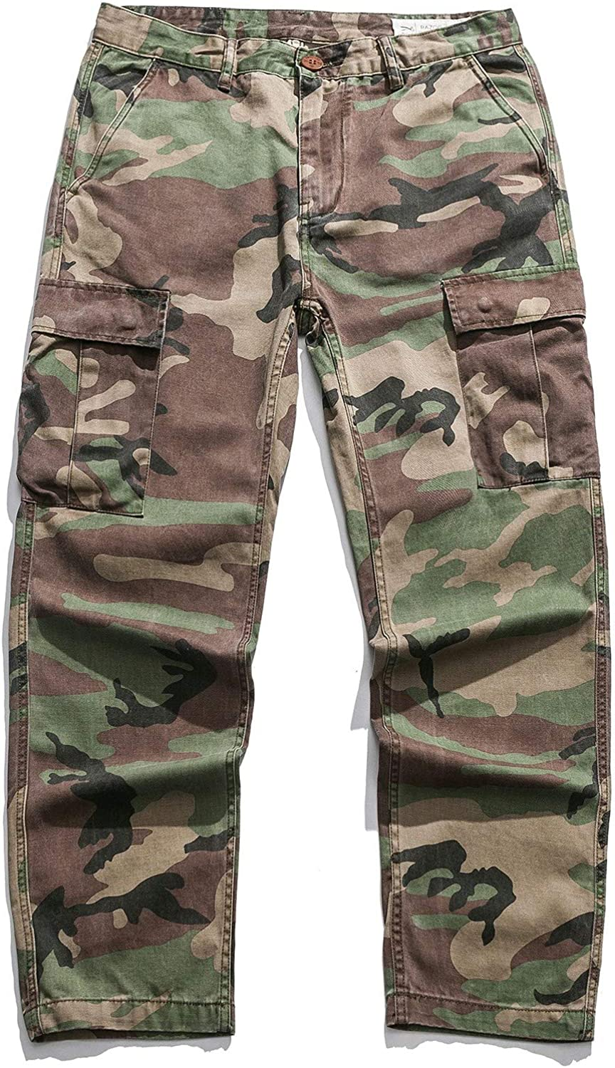 Nicelly Men Outdoor Camouflage Workout Oversize Work Cargo Pants