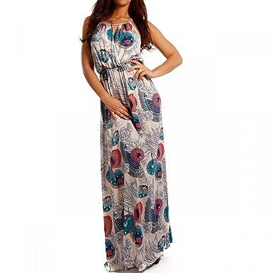 d4a76fb911bc Young-Fashion Damen Maxikleid Bodenlang Wickel Ausschnitt Strandkleid  Freizeit Oder Party Kleid  Amazon.de  Bekleidung