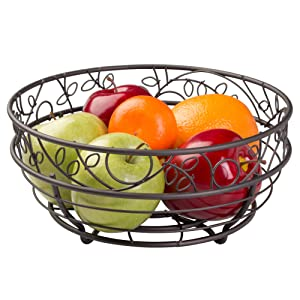 InterDesign Twigz Fruit Bowl – Wire Fruit Basket for Kitchen Tables, Bronze