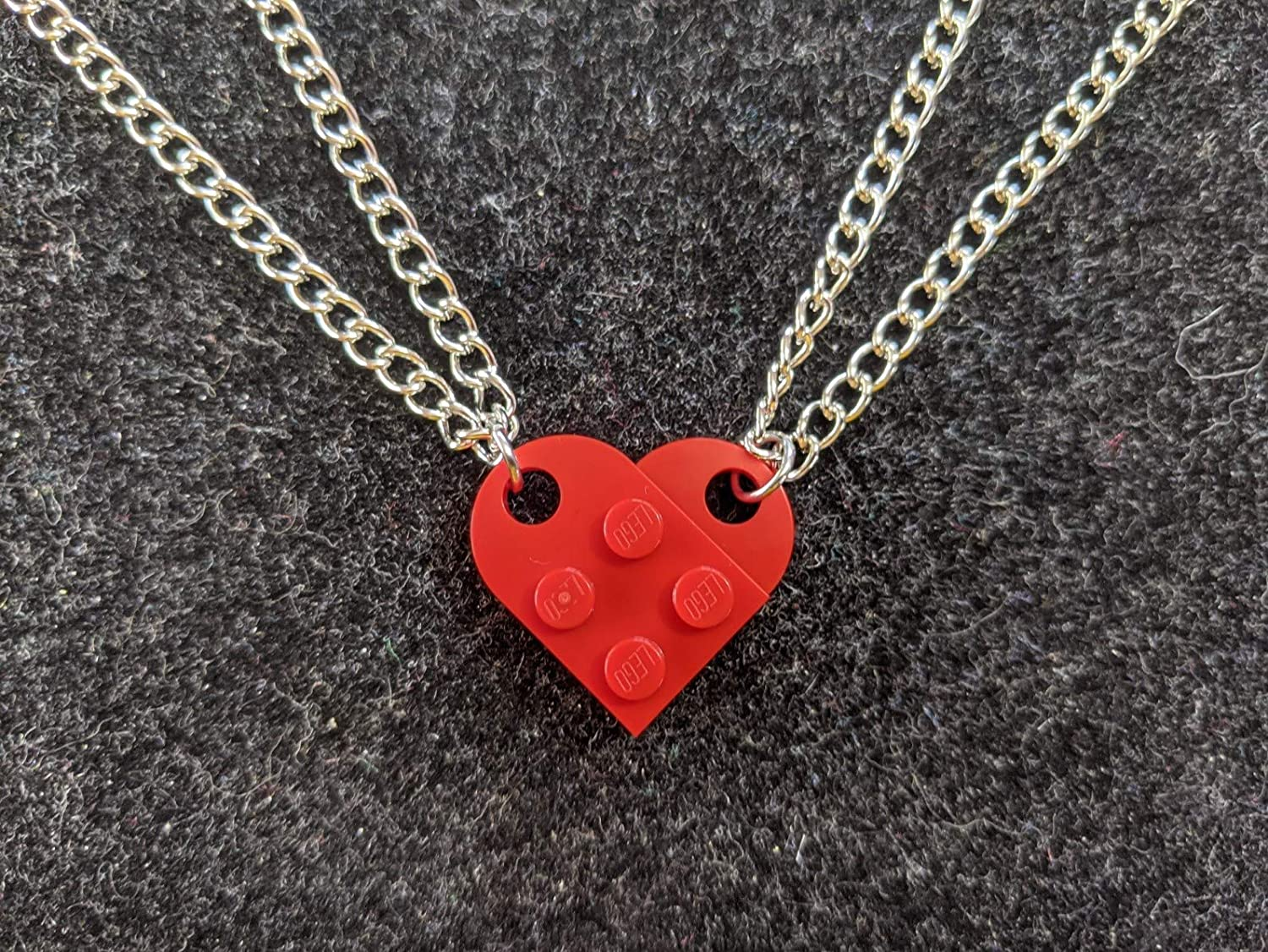BrickCrafts Basic BFF His/Hers Brick Heart Charm Necklaces (Set of 2) - 16 colors