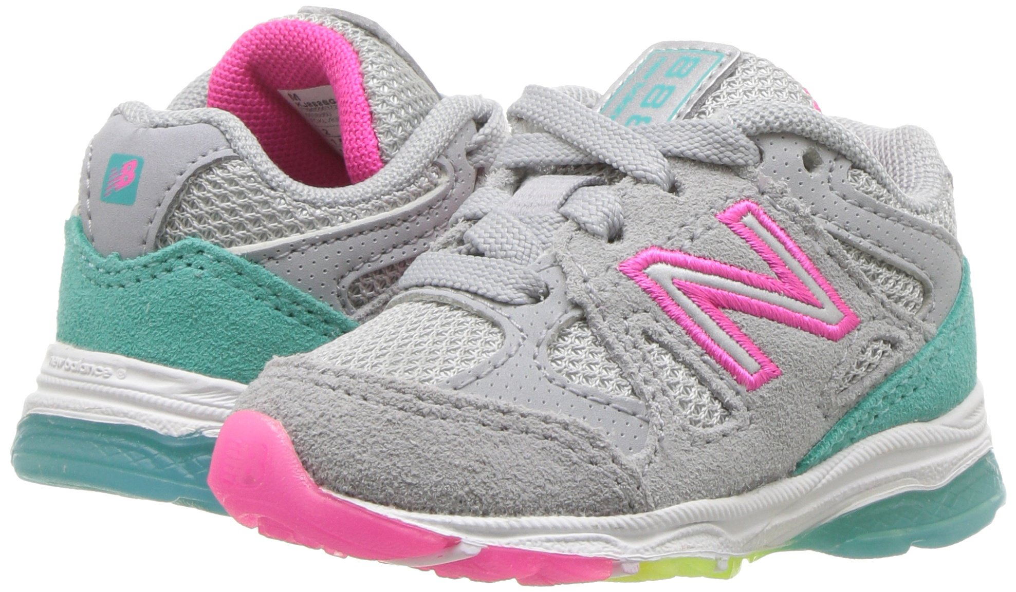 New Balance Girls' 888v1 Running Shoe, Silver Mink/Rainbow, 6 W US Big Kid by New Balance (Image #6)