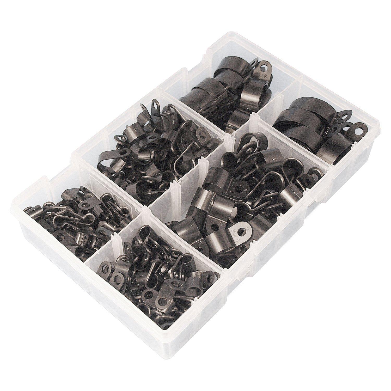 200pezzi nero nylon R clip nero in Nylon R cavo tipo di fissaggio in filo morsetto clip cavo clip di montaggio a vite per gestione dei cavi AGGER