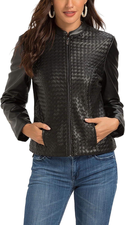 Women's Faux Leather Jacket Zip Up Moto Biker Coat Short PU Leather Jackets  Slim Fit at Amazon Women's Coats Shop