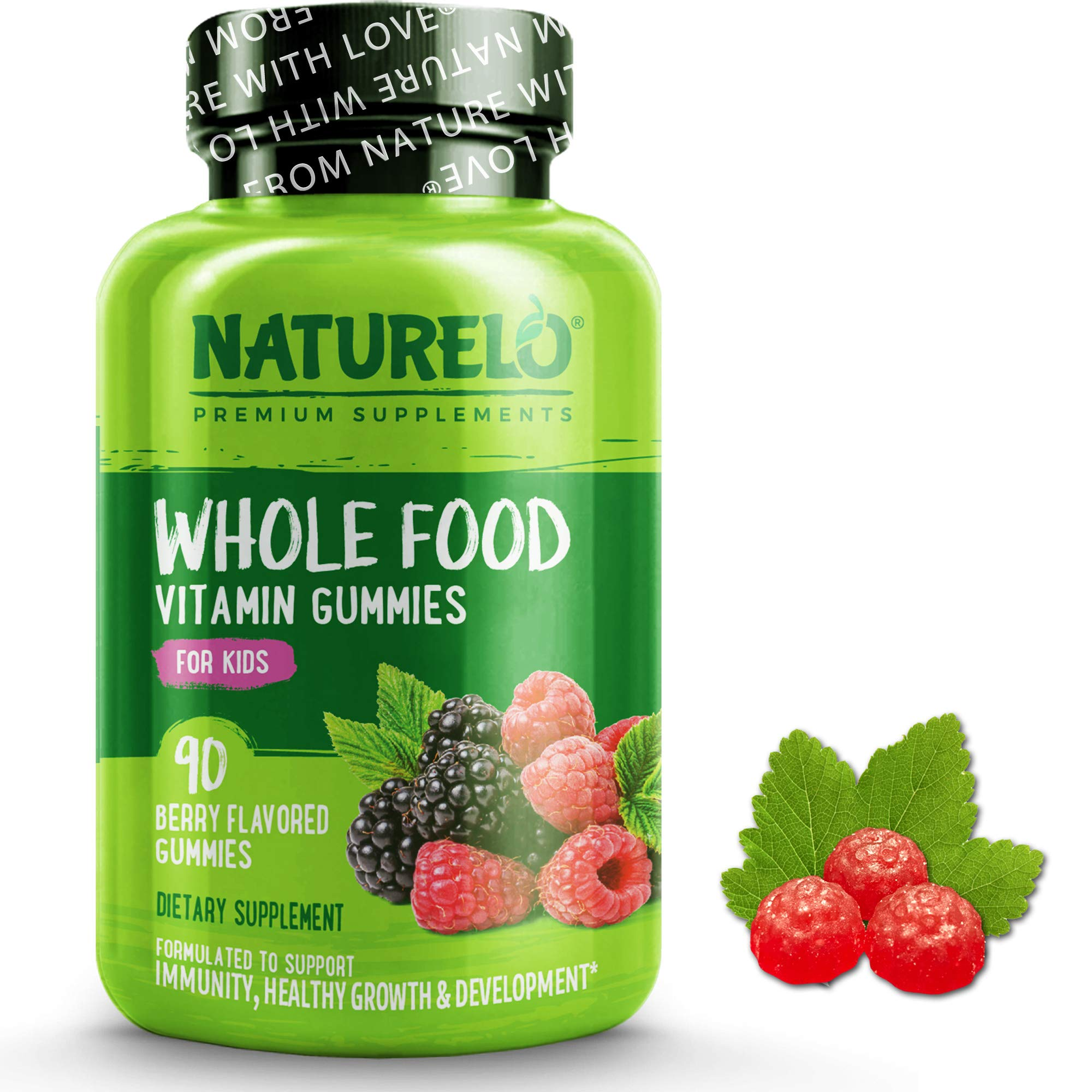 NATURELO Whole Food Vitamin Gummies for Kids - Best of Maintaining Essential Nutrient Levels in Children - No GMOs - New Great Tasting Berry Flavour -120 Chewable Vegan Gums | 1-2 Month Supply