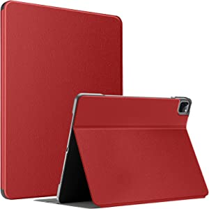 Soke Case for New iPad Pro 12.9 5th Generation 2021, Slim Premium Leather Folio Stand Cover [2nd Gen Apple Pencil Charging+Auto Wake/Sleep], Hard PC Back Shell for Apple iPad Pro 12.9 Inch(Red)