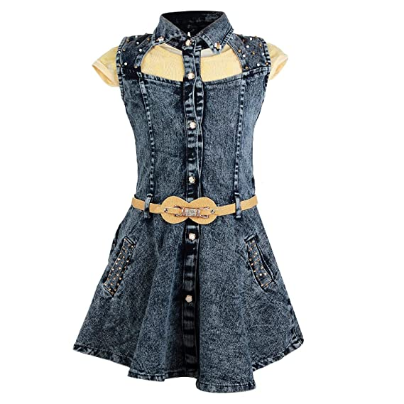 592534920f3 Arshia Fashions Girls Partywear Denim Short Dress with Top  Amazon ...