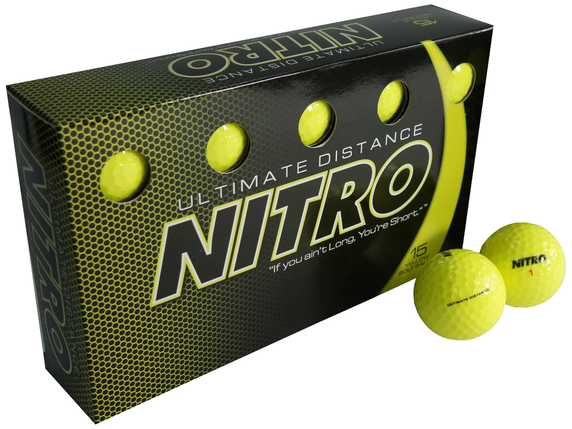 Nitro Long Distance High-Durability Golf Balls (15PK) All Levels Ultimate Distance Titanium Core High Velocity Great Stop & Sticking Ability Golf Balls USGA Approved-Total of 15-Yellow by Nitro