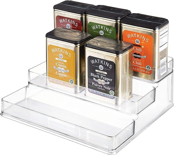 "iDesign Linus Plastic Stadium Spice Racks, BPA-Free 3-Tiered Organizer for Kitchen, Pantry, Bathroom, Vanity, Office, Craft Room Storage Organization, 10.25"" x 9.25"" x 4"", Clear"