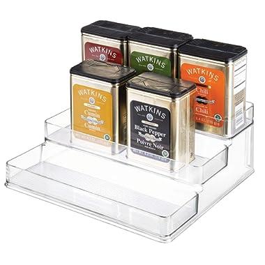 iDesign Linus Plastic Stadium Spice Racks, BPA-Free 3-Tiered Organizer for Kitchen, Pantry, Bathroom, Vanity, Office, Craft Room Storage Organization, 10.25  x 9.25  x 4 , Clear