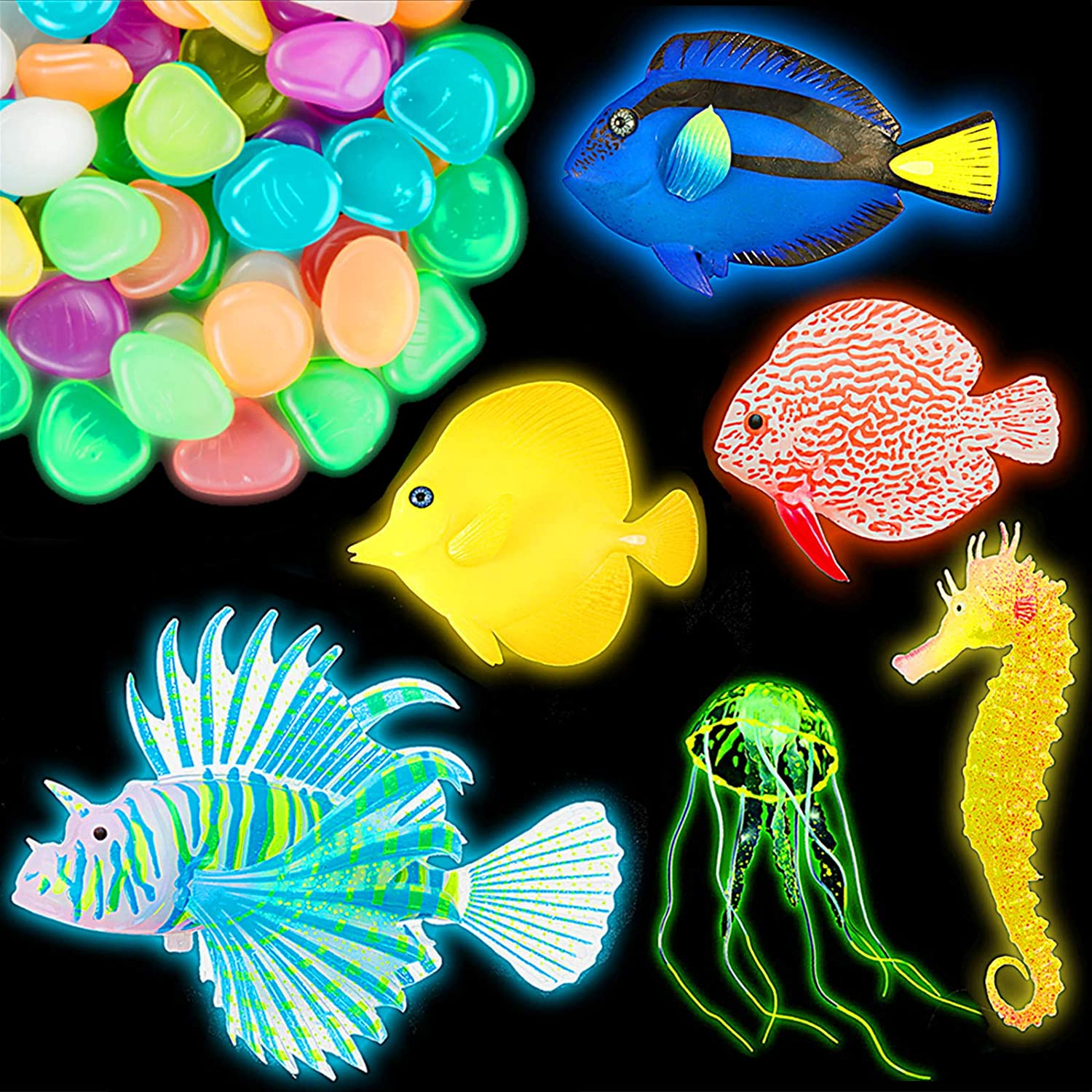 56 Pieces Artificial Glowing Fish Set Include 5 Styles Colorful Fake Fishes 1 Piece Fake Jellyfish 50 Pieces Luminous Stones Glowing Effect Aquarium Decor Floating Ornament for Fish Tank Decoration