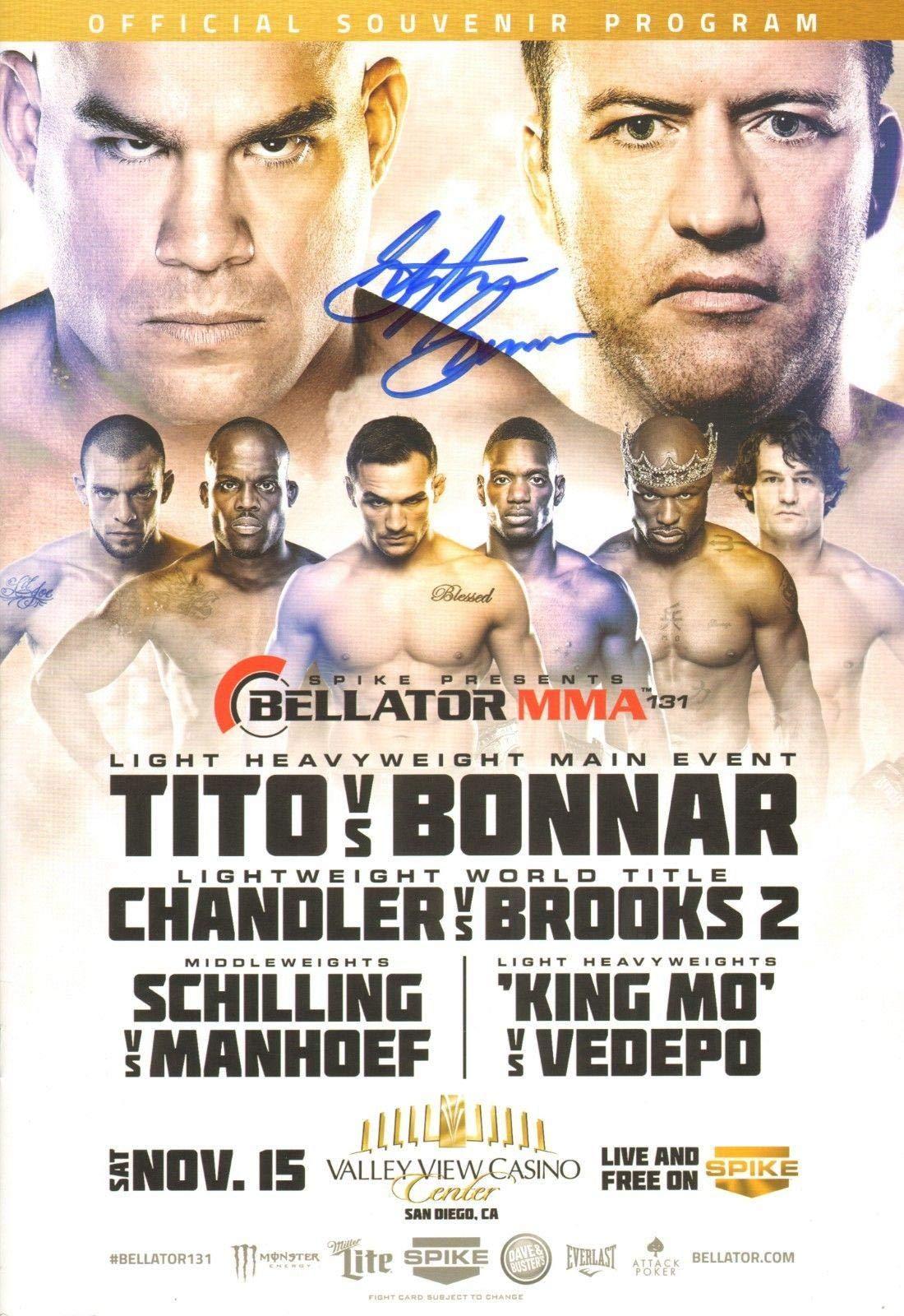 Stephan Bonnar Signed Bellator 131 Official 2014 Event Program vs Tito Ortiz UFC Autographed UFC Magazines