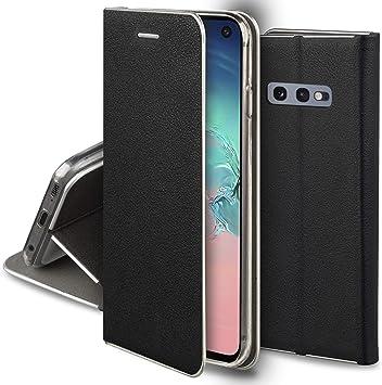 Moozy Funda con Tapa para Samsung S10e, de Cuero PU Negro ...