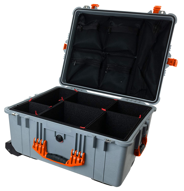 Pelican 1610 シルバー&オレンジケース TrekPak仕切りとメッシュオーガナイザー付き。 B07SCSN4MN