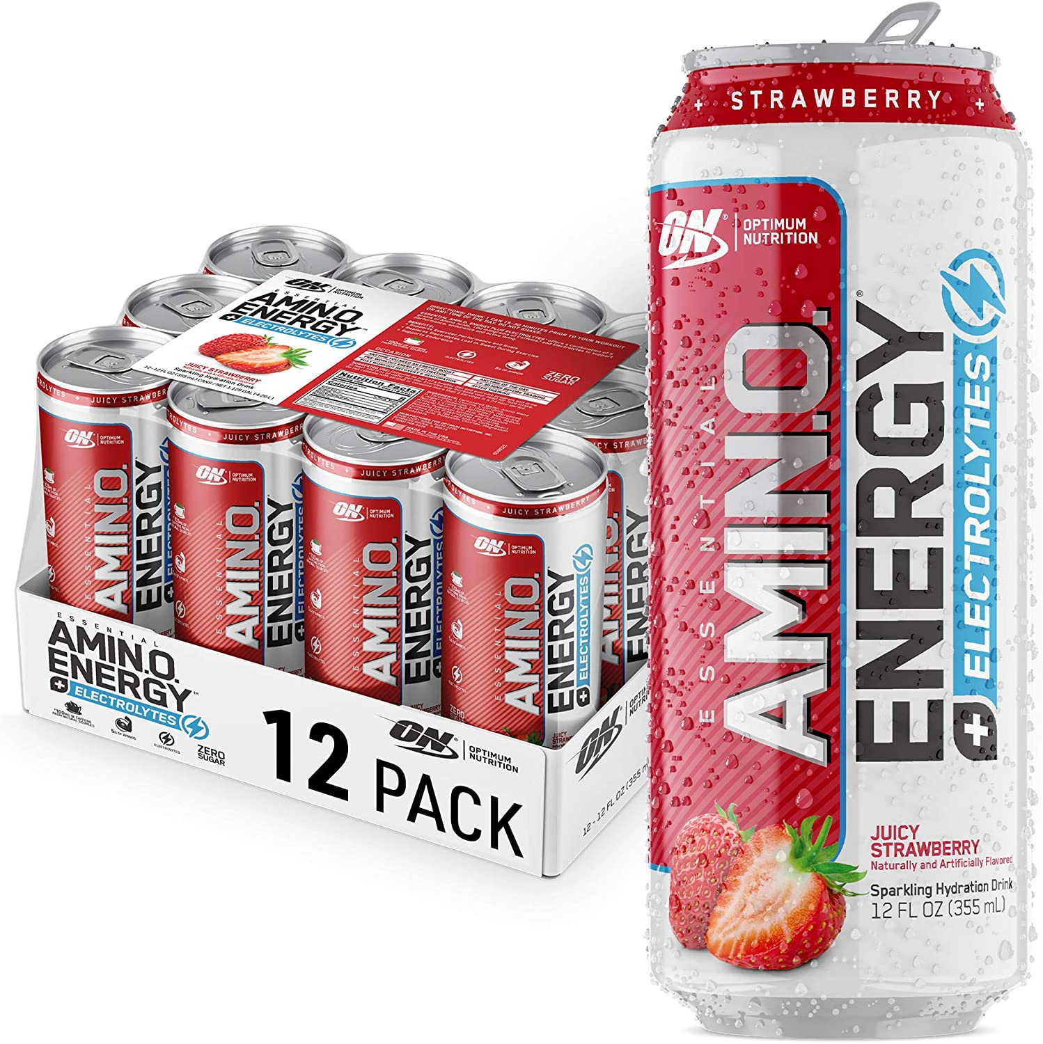 Optimum Nutrition Amino Energy + Electrolytes Sparkling Hydration Drink - Pre Workout, BCAA, Keto Friendly, Energy Powder - Juicy Strawberry, 12 Count