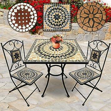 Salon de Jardin Mosaïque | Table Carrée (60x60x70cm) et 2 ...