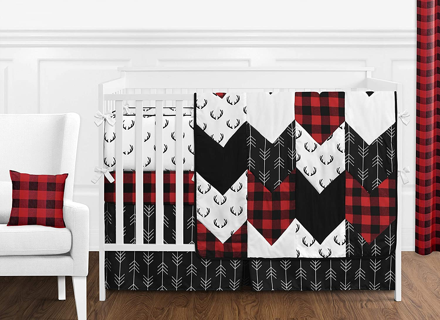 Sweet Jojo Designs Woodland Buffalo Plaid Baby Boy Nursery Crib Bedding Set with Bumper - 9 Pieces - Red and Black Rustic Country Deer Lumberjack Arrow