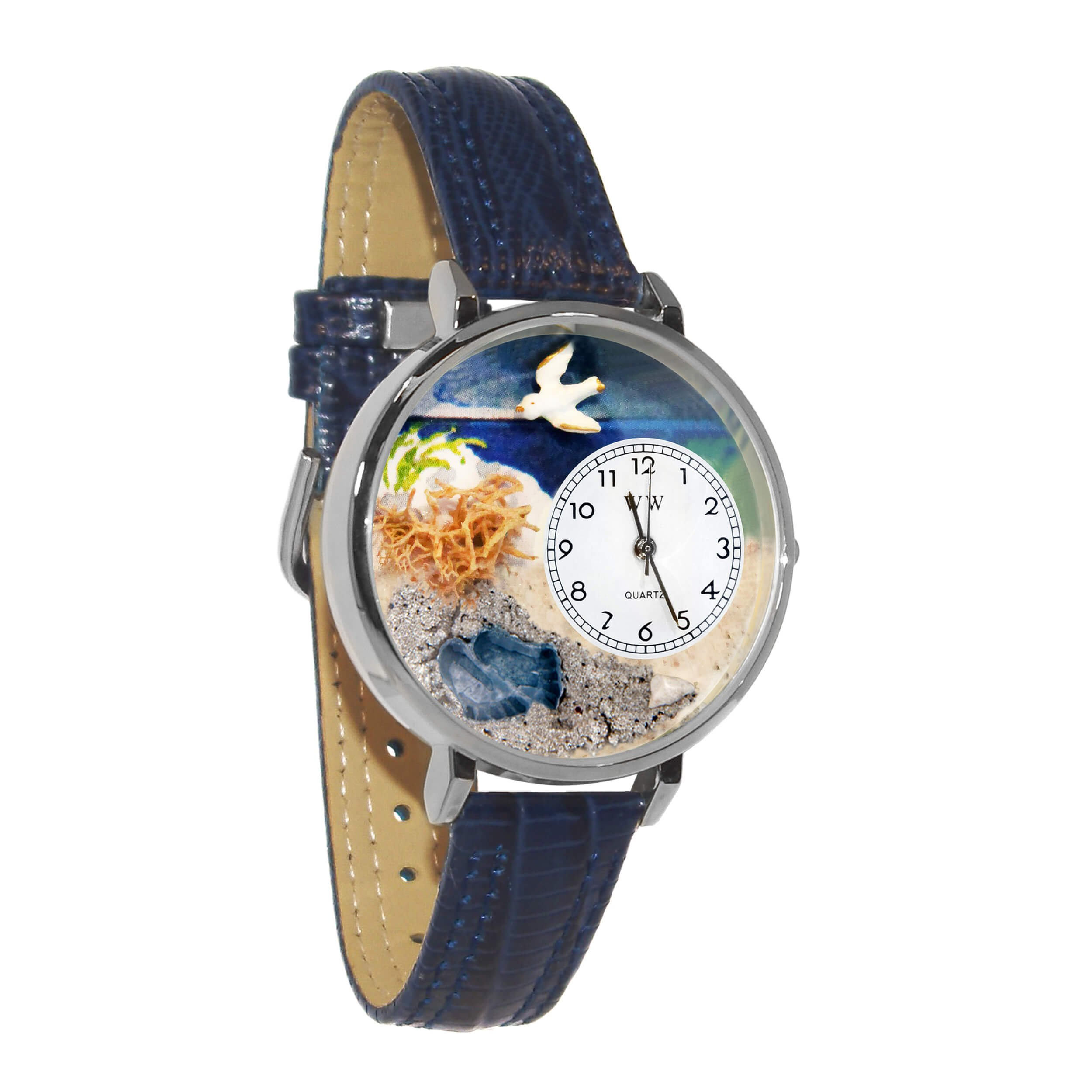 Whimsical Watches Unisex U0710013 Footprints Royal Blue Leather Watch