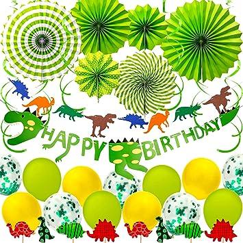 SAVITA Artículos para Fiestas con Tema de Dinosaurios Decoraciones para Fiestas de Feliz cumpleaños con Dinosaurios Favores de la Fiesta de Little ...
